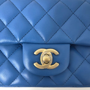 Chanel 19S Classic Blue Mini Rectangular Lambskin with brushed gold hardware