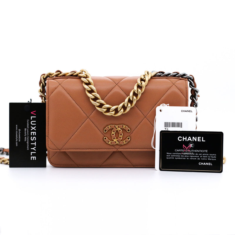 Chanel 19 Wallet on Chain 21P Dark Brown/Caramel Lambskin with mixed hardware