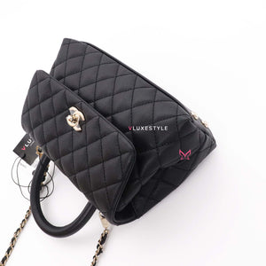 20% Non-refundable deposit to reserve: Chanel Mini Coco Handle 20K Black Quilted Caviar with light gold hardware