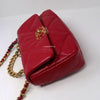 Chanel 19 Bag Small 20P Red Quilted Goatskin with silver, ruthenium and aged gold hardware