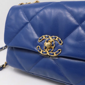 Chanel 19 Bag Small 20P Blue Quilted Goatskin  with multi-tone hardware