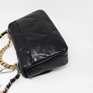 Chanel 19 Flap Small 20S Black Quilted Goatskin with multi-tone hardware