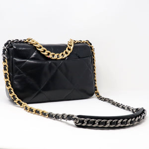 Chanel 19 Bag Small 20S Black Quilted Goatskin with multi-tone hardware