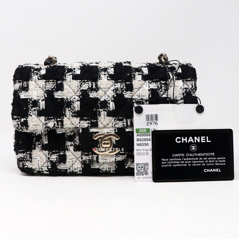 Chanel 20S Mini Rectangular Ecru, Black & White Tweed and light gold hardware