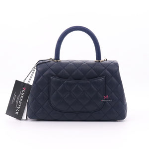Chanel Mini Coco Handle 21P Navy Quilted Caviar with light gold hardware