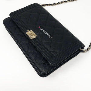 Boy Wallet on Chain Black Caviar with gold hardware