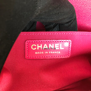 Chanel Limited Edition 17P Le Boy Old Medium Fuchsia Pink Caviar with shiny gold hardware