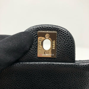 18S Black Mini Square Caviar with gold hardware