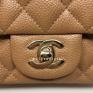 18S Mini Square in Dark Beige Quilted Caviar