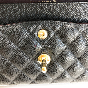 Chanel Classic Small Double Flap Black Quilted Caviar with gold hardware