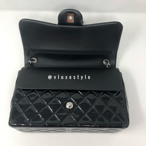 Classic Black Patent Jumbo Double Flap with silver hardware