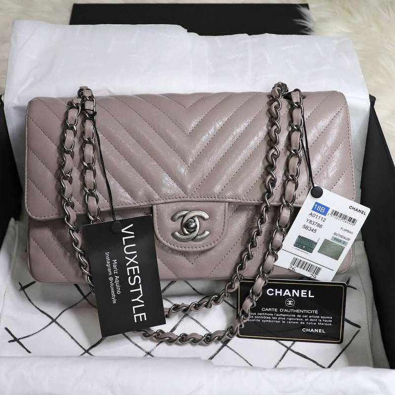 Chanel Classic Medium Double Flap 18B Iridescent Taupe Chevron Aged Calfskin with ruthenium hardware