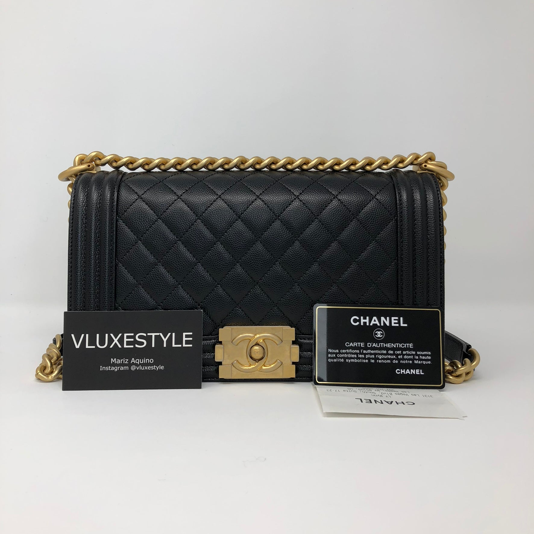 120da522898e Le boy Old Medium Black Caviar with brushed gold hardware – VLuxeStyle