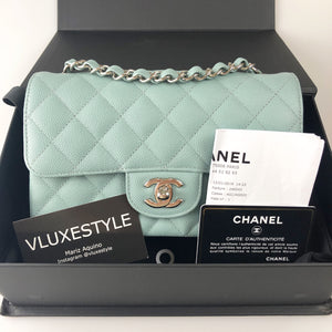 Chanel 18C Mini Rectangular Light Blue Quilted Caviar with silver hardware