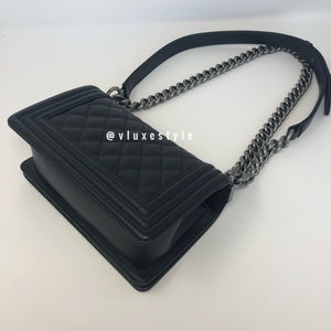 Le Boy Small Black Quilted Caviar with ruthenium hardware