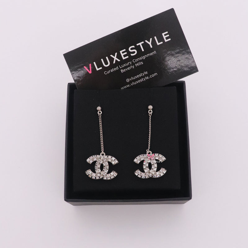 Chanel Baguette Crystal CC Drop Earrings Silver Tone
