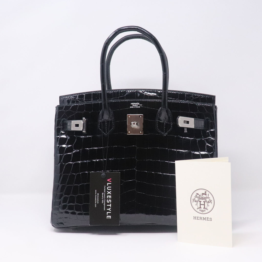 Hermes Birkin 30 Black Shiny Niloticus Crocodile with palladium hardware
