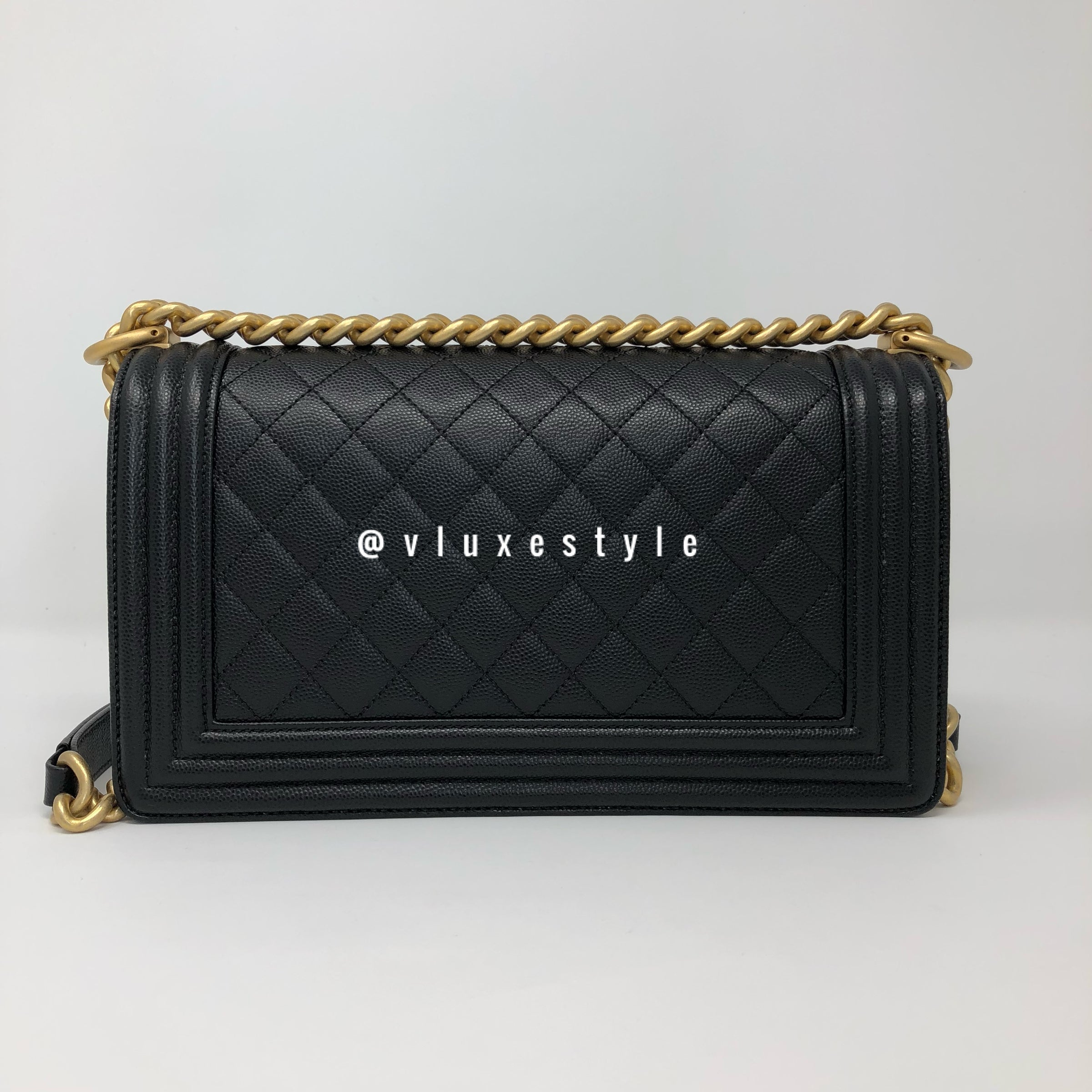 8005175dc37c Le boy Old Medium Black Caviar with brushed gold hardware – VLuxeStyle