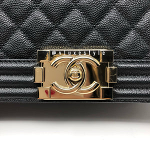 Limited Edition 17P Old Medium Black Caviar with rigid light gold hardware