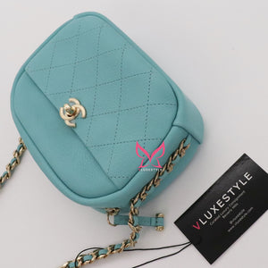 Chanel Camera Bag 19C Tiffany Blue Lambskin with light gold hardware