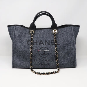 Chanel 19C Deauville Tote with handle Lurex Straw Dark Blue/Black with light gold hardware