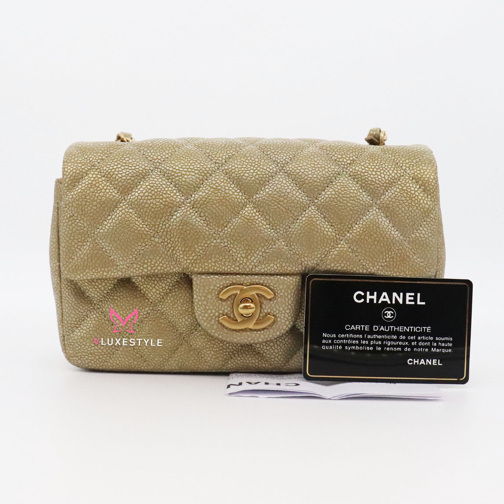 Chanel Classic Mini Rectangular 15C Pearly Gold Quilted Caviar with brushed gold hardware