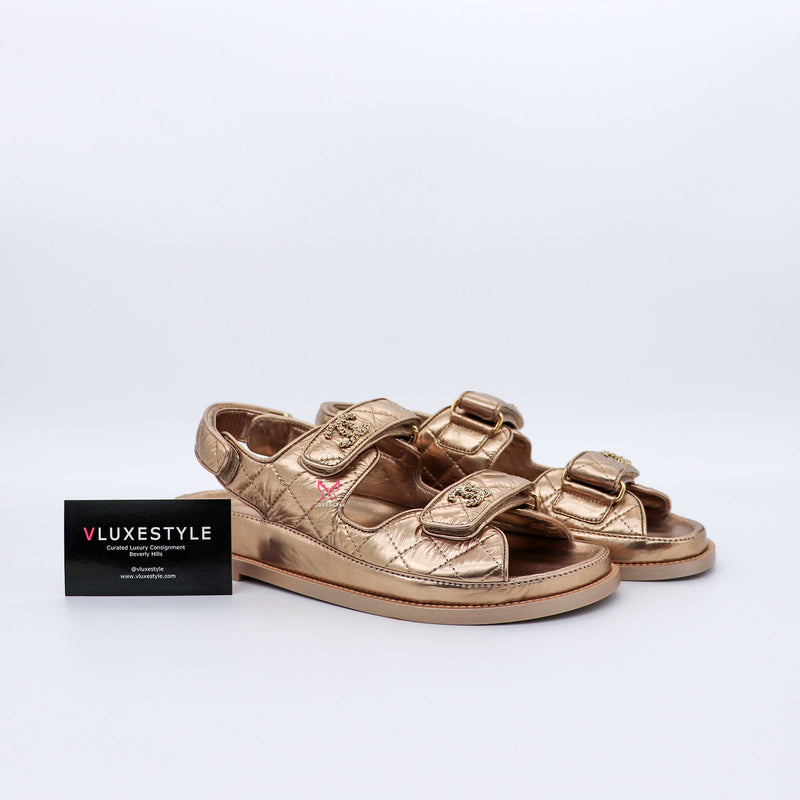 Chanel Velcro Dad Sandals 21C Iridescent Light Bronze  Lambskin 39
