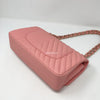Chanel 19S Classic Medium Matte Pink Chevron Caviar with light gold hardware