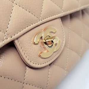 Chanel Classic Medium Double Flap Beige Quilted Caviar with gold hardware