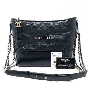 Chanel 18P Gabrielle Medium Hobo Black Quilted Aged Calfskin