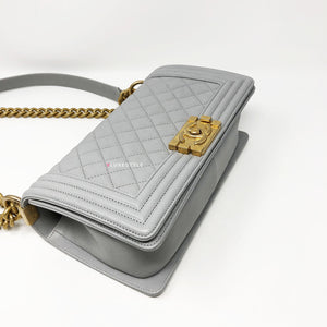Chanel 18P Le Boy Old Medium Grey Caviar with brushed gold hardware