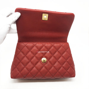 Chanel Mini Coco Red Quilted Caviar with Lizard Handle and aged gold hardware