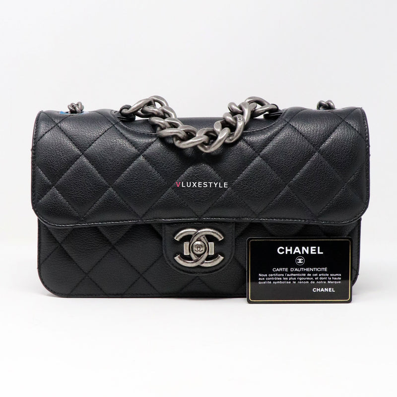 Chanel Perfect Edge Medium Flap Black Quilted Goatskin Flap with ruthenium hardware