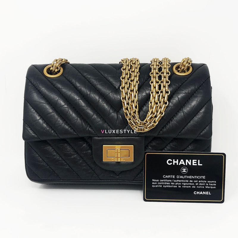 Chanel Reissue Black Chevron Calfskin Double Flap and Aged Gold Hardware size 224
