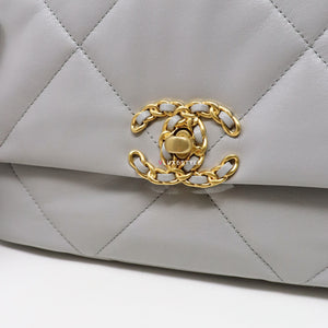 Chanel 19 Bag Small 20P Grey Quilted Goatskin with multi-tone hardware