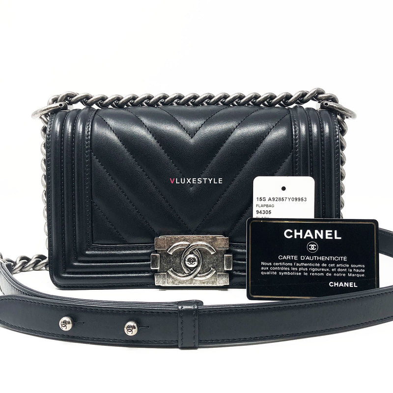 Chanel 15S Small Le Boy Black Chevron Calfskin with ruthenium hardware