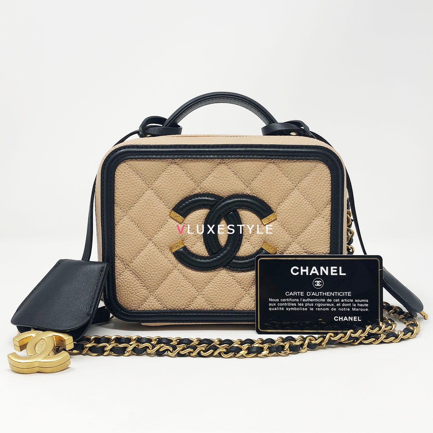 Chanel Small Filigree Vanity Case Beige Black Quilted Caviar Vluxestyle