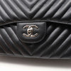 Chanel Classic Jumbo Double Flap 16S Black Chevron Caviar with silver hardware