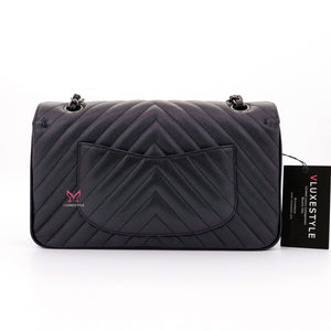 Chanel Classic Medium Double Flap 17B Iridescent Black Chevron Caviar with ruthenium hardware