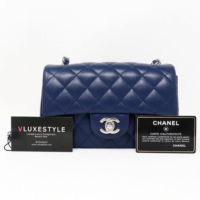 ChanelClassic Mini Rectangular 17B Navy Quilted Caviar with silver hardware