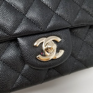 Classic Mini Square 17B Black Quilted Caviar with light gold hardware