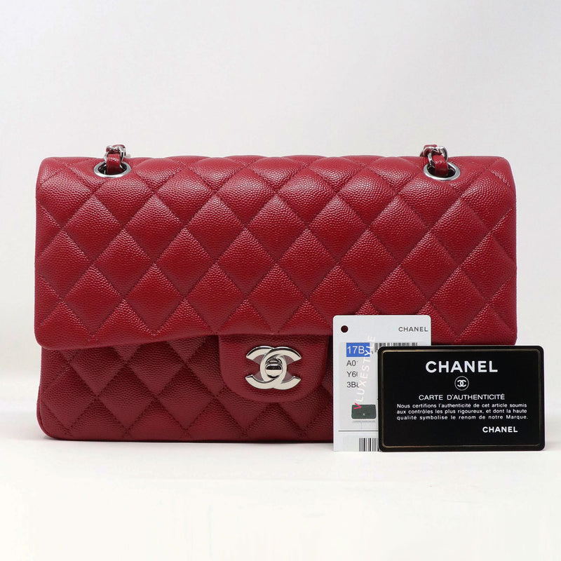Chanel Classic Medium Double Flap 17B Red Quilted Caviar with silver hardware