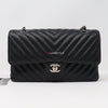 Chanel Classic Medium Double Flap 16S Chevron Caviar with silver hardware