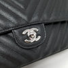 Chanel Classic Medium 17S Black Chevron Caviar with silver hardware