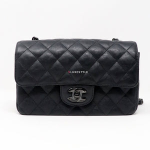 Chanel Mini Rectangular 17S So Black Crumpled Calfskin with shiny black hardware