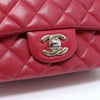 Chanel Classic 18B Mini Rectangular Red Quilted Caviar with silver hardware