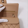 Chanel Classic Medium Double Flap 19B Dark Beige Quilted Caviar with light gold hardware