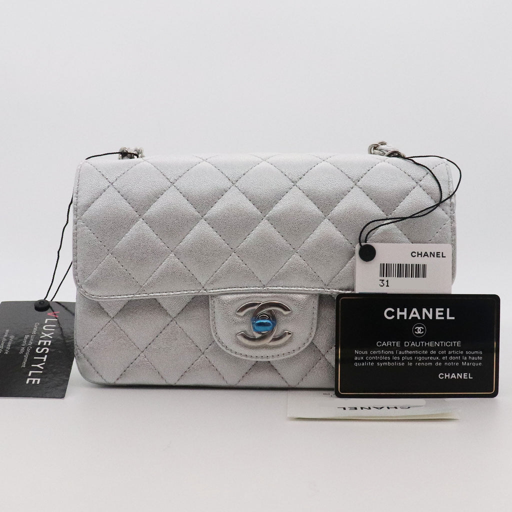 Chanel Classic Mini Rectangular 21P Metallic Silver Grained Lambskin with silver hardware