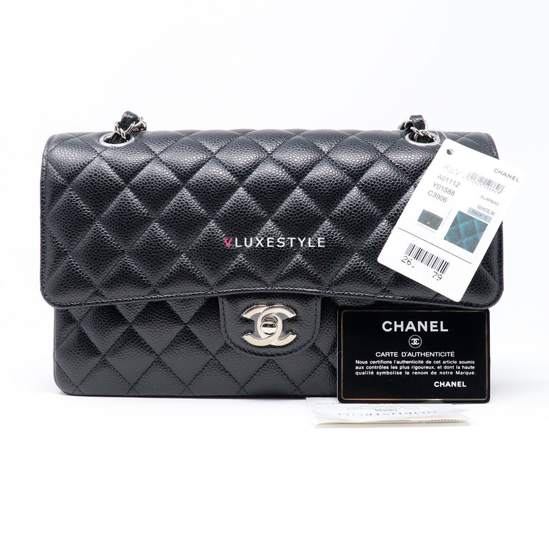 Classic Medium Double Flap Black Quilted Caviar with silver hardware