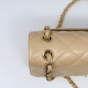 Chanel Classic Jumbo Double Flap Beige Clair Quilted Caviar with gold hardware